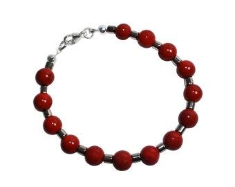 Silver and Red Jasper Taylor Bracelet