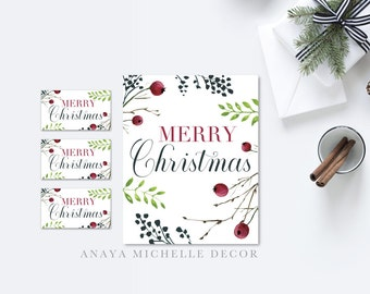 Merry Christmas Print with Matching Gift Tags | Holiday | Printable Instant Download