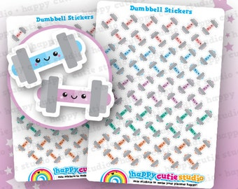 55 Cute Dumbbell/Weights/Gym/Exercise/Work Out Planner Stickers, Filofax, Erin Condren, Happy Planner,  Kawaii, Cute Sticker, UK