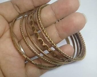 Bangle Bracelets, Vintage Bracelets, Copper Bracelets, Bracelet Set, Vintage Copper Bracelets, Metal Textured Bracelets,Vintage Bracelet Set