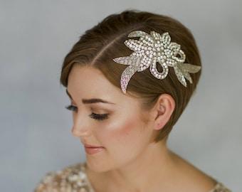 Vintage wedding comb, crystal bridal headpiece, elegant wedding comb, vintage comb, headpiece, Hollywood comb, 1930s wedding comb - Vivien