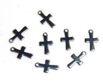 8 - Tiny Cross Charms, Spiritual Charms, Silver Cross Charms, Small Crosses, Small Cross Charms, Tiny Silver Cross Charm,  SC-42