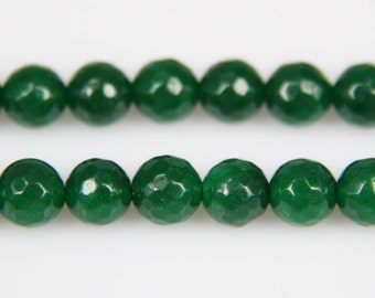 4-14mm size Choice Dark Green Malaysian Jade Faceted Rounds,15.5 inches Strand Jade Gem Stone Loose Beads for Jewelry Making Supplies