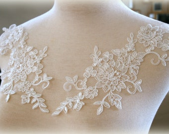 Set of White Embroidered Lace Applique, l Lace Applique, Custom Design, Couture Design, Dressmaking, Lace Jewelry GD-96800W