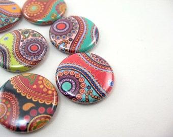 8 paisley fridge magnets - colorful rainbow home & living, kitchen, organization  1103