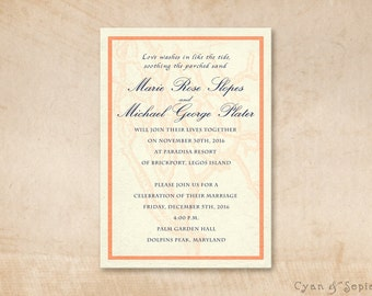 Printable Wedding Invitation - 5x7 - Antique Coral - Beach, Shabby Chic, Cottage, Nautical, Antique, Personalized DIY - Coral, Navy, Cream