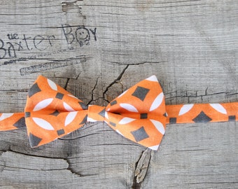 READY TO SHIP ---- Orange with White and Dark Grey Bow Tie for little boys - photo prop, baptism, christening, blessing, Easter, wedding