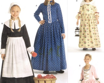 Simplicity 3725 Girls' Colonial Pilgrim Prairie Early American COSTUMES Sewing Pattern ANDREA SCHEWE
