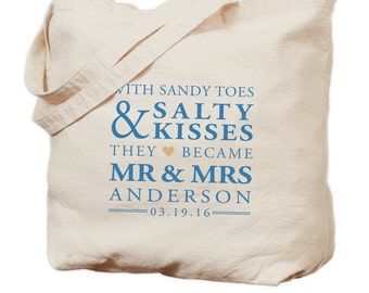 Personalized Wedding Canvas Tote Bag - Sandy Toes & Salty Kisses - Gift Bag - Bridesmaid Bag - Wedding Tote - Wedding Favor - Welcome Bag