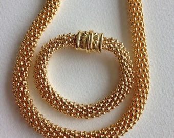 Necklace  - gold looking necklace and bracelet set magnetic clasp on both