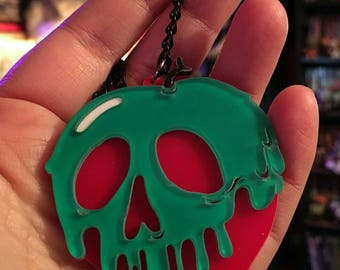 Laser Cut Acrylic POISON APPLE Pendant Necklace
