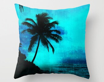 Tropical scene pillow, silhouette palm tree cushion for tropical interiors, turquoise island life design