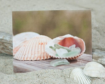 Coastal Note Card | Sea Glass Note Card | Coastal Stationery | Coastal Shell Note Card | Coastal Greeting Card | Lisa Vohwinkel Photography