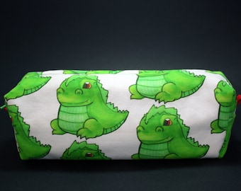 Boxy Makeup Bag - Baby Godzilla Print Zipper - Pencil Pouch