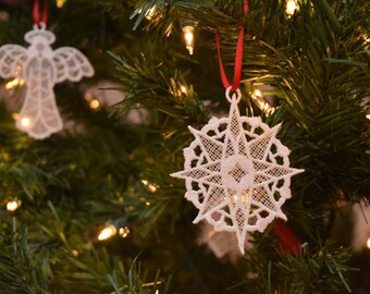 Compass Star lace ornament