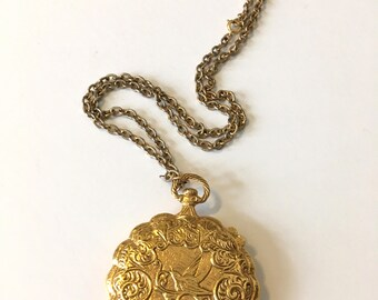 Big Gold Locket Stash Box Brass Pendant Locket Vintage 60s
