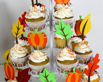 12 Leaf cupcake toppers/ mix of leaf and pumpkin cupcake toppers