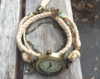 Women watches boho, wrap bracelet style, beige suede, antique gold tibetan charm, antique gold charm and watch. -MO24-