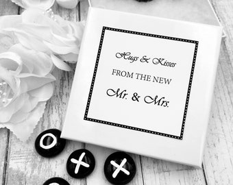 Hugs and Kisses Wedding Favors, Tic Tac Toe Black and White Personalized Wedding Favors, Party Favour, Wedding Guest Gift, Wedding Games