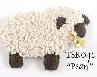"""TSKK04e - """"Pearl"""" Sheep Hand-Embroidered Brooch/Ornament Kit and Pattern"""