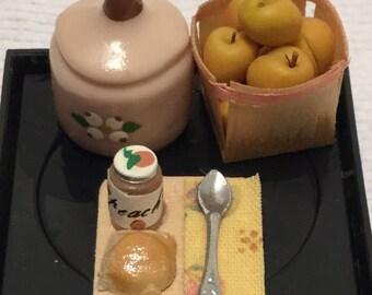 """Dollhouse Miniature Peaches, Peach Jam & Muffin 1"""" Scale. (JV)"""