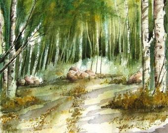 At The Ranch - original watercolor painting