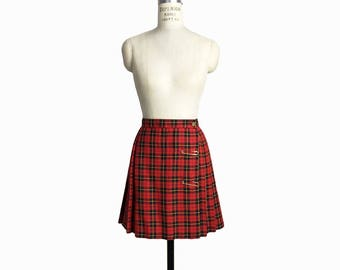 Vintage 90s Red Plaid Punk Rock Skirt / Tartan Plaid Mini Skirt / Pleated Wrap Skirt with Safety Pins - women's xs/small