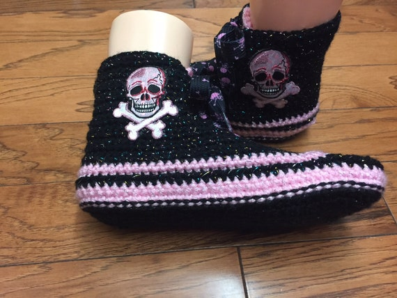 high shoes 8 slippers tennis sneaker top shoes top slippers pink Womens tennis pink high skull slippers 10 skull skull Crocheted sneakers d4nFBd