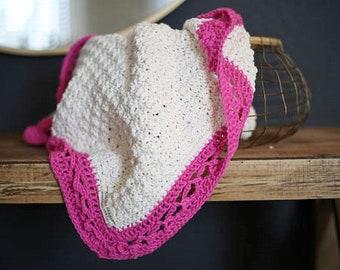 Crochet Baby Blanket Cream with Breast Cancer Ribbon Border  No.015