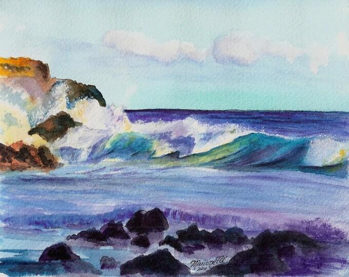 Kauai seascape, Hawaii beaches, ocean waves, large surf, Kauai paintings, Hawaiian art, ocean art print, Kauai ocean art