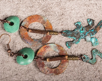Rustic copper reptile earings