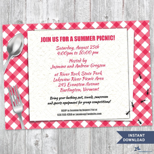 Printable Red Gingham Summer Picnic With Ants Party Invitation - Custom vinyl decal application instructions pdfapplication etsy