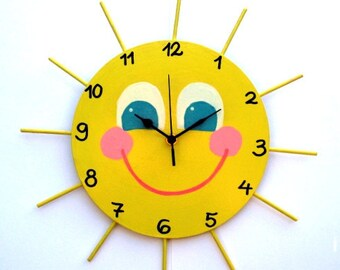 LITTLE MISS SUNSHINE Banana Hand Painted Wall Clock