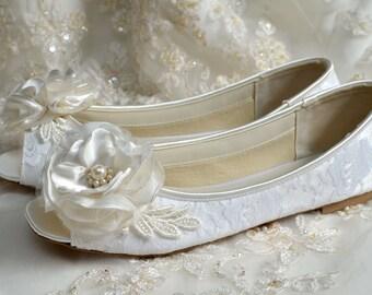 Flat Peep Toe Wedding Shoes , Handmade Flowers, Custom Colors, Lace , Flat Bridal Shoes.