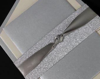 Glitter Invitation, Wedding Invitation, Bridal Shower Invitation, Silver Wedding Invite, Quinceanera Invitation, Adult Birthday Invitation