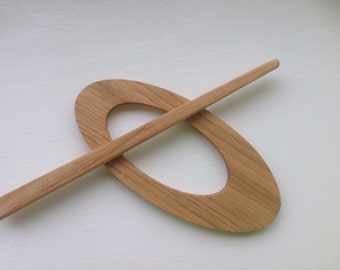 Shawl pin from oaken, handmade wooden shawl pin, Eco knitting supplies