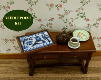 Doll's house tray cloth kit needlepoint, 1:12 Willow pattern traycloth pattern, Petitpoint traycloth, Dollhouse tray cloth, 32 silk gauze