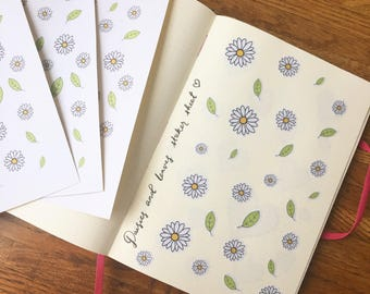 Cute daisies and leaves stickers, journal stickers, planner stickers, sticker sheet