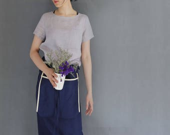 861---Basic Linen Top, Gray Short Sleeve Linen Tee