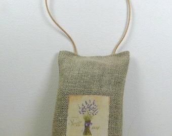 Lavender sachet in linen hanging - bouquet of lavender
