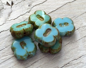 Glass Flower Beads - Czech glass flower beads light turquoise blue 4 leaf clovers pack of 6