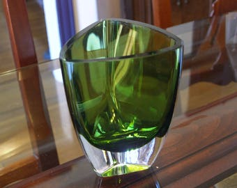 Green Modernist Art Glass Vase with 3 Sides – Heavy Glass Walls and Base