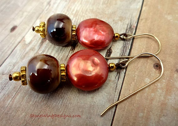 Red Coin Pearl and Ceramic Earrings on 14k Gold Fill Ear Wires