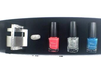 Adjustable Silver Crystal Ring~ Bracelet~Nail Polish Gift Set,Pink Nail Polish,Gifts for Her,Jewelry Gift Set,Crystal Bracelet,Crystal Ring