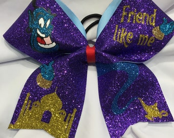 Friend Like Me - Aladdin Genie TEXAS/CHEER LARGE Size Glitter bow