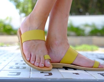 Yellow Sandals, Genuine Leather Sandals, Classic Leather Flats, Greek Strap Sandals, Leather Flip Flops
