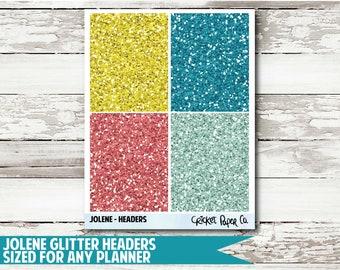 Jolene Glitter Header Planner Stickers