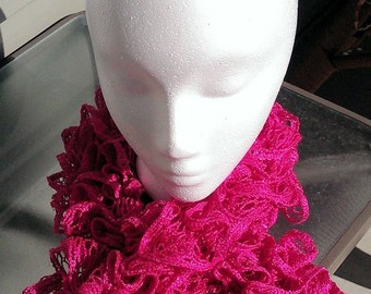 Hot Pink Valentine Ruffled Scarf
