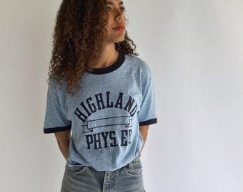 Vintage Cotton Blend Light Blue Ringer T Shirt | Vintage Highland Phys Ed Crew Neck Tee Shirt | Sky Blue Tee Medium Tee | Made in USA