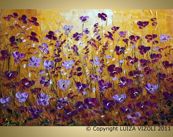 Original Modern Abstract Palette Knife Painting WILD FLOWERS by Luiza Vizoli